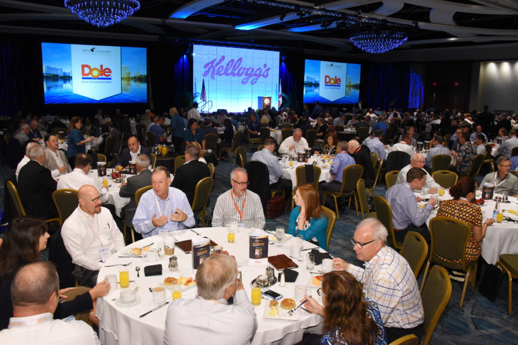 Convention attendees enjoying Monday breakfast session