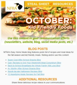 screenshot of October Steal Sheet of Resources E-Newsletter
