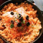 Burrito casserole with rice in cast iron skillet