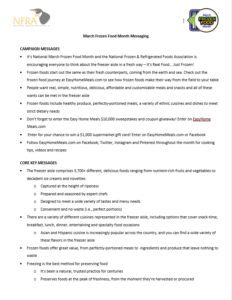 March Frozen Food Month messaging document