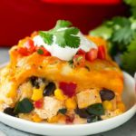 Mexican casserole dish on white plate